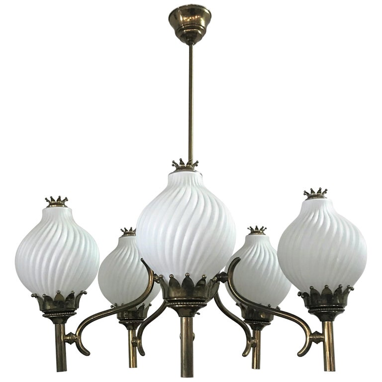 Published Italian Chandelier by Angelo Lelli for Arredoluce, circa 1950 For Sale