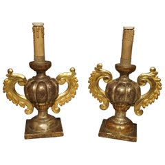 Antique Giltwood Italian Candlesticks, circa 1880