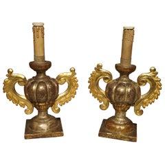Antike Vergoldetes Holz Italienische Kerzenständer, um 1880