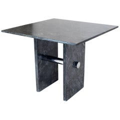 Black Square Marble Top Small Conference Dining Game Cafe Table