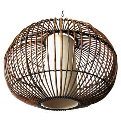 Rattan Chandelier Hanging Light Style of Franco Albini, circa 1960s