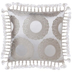 Brabbu Crochet in White and Gray Pillow Satin