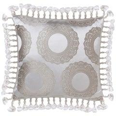 Brabbu Crochet in White and Gray Pillow Satin
