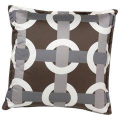 Brabbu Bowline Pillow in Brown Satin with Geometric Pattern