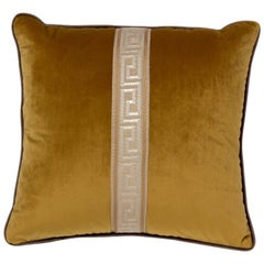 Brabbu Labyrinth Pillow in Yellow Velvet with Stripe Detail