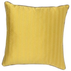 Brabbu Metropolis Pillow in Yellow Linen with Silver Trim