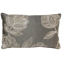 Brabbu Flora Pillow in Gray Linen with Silver Stitching
