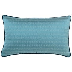 Brabbu Metropolis Pillow in Blue Linen with Geometric Pattern
