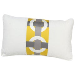 Brabbu Bowline Pillow in White Satin with Geometric Pattern