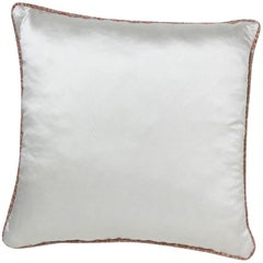 Brabbu Paiva Pillow in White Satin with Multicolored Trim