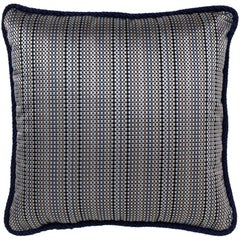Brabbu Skitter Pillow in Blue Satin with Checkered Pattern