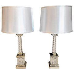Pair of Cut Crystal Marbro Style Ionic Column Lamps