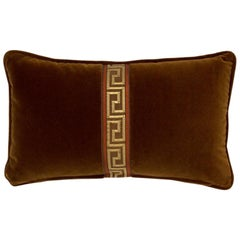 Brabbu Labyrinth Pillow in Brown Velvet with Stripe Detail