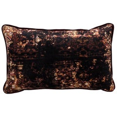 Brabbu Luwak Pillow in Multicolored Brown Velvet