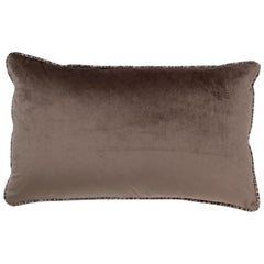 Brabbu Pisgah Pillow in Brown Velvet with Multicolored Trim