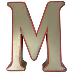 1970s Large English Vintage Metal Bronze Color Capital Letter M with Red Profile