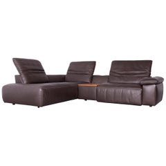 Mondo Merit Designer Corner Sofa Leather Brown Electric Function Couch
