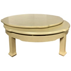 Hollywood Regency Sculptural Two-Tier Round Swiveling Coffee Table
