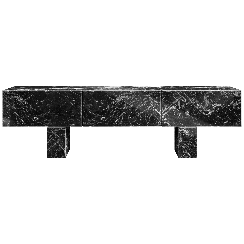 Contemporary Diablo Console or Sideboard in Marble, Macassar Ebony