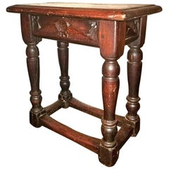 16th Century Renaissance Carved Spanish Oak Stool