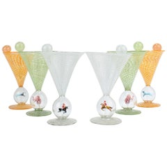 Set of 6 Bimini Glass Art Deco Martini Glasses with Cocktail Spears