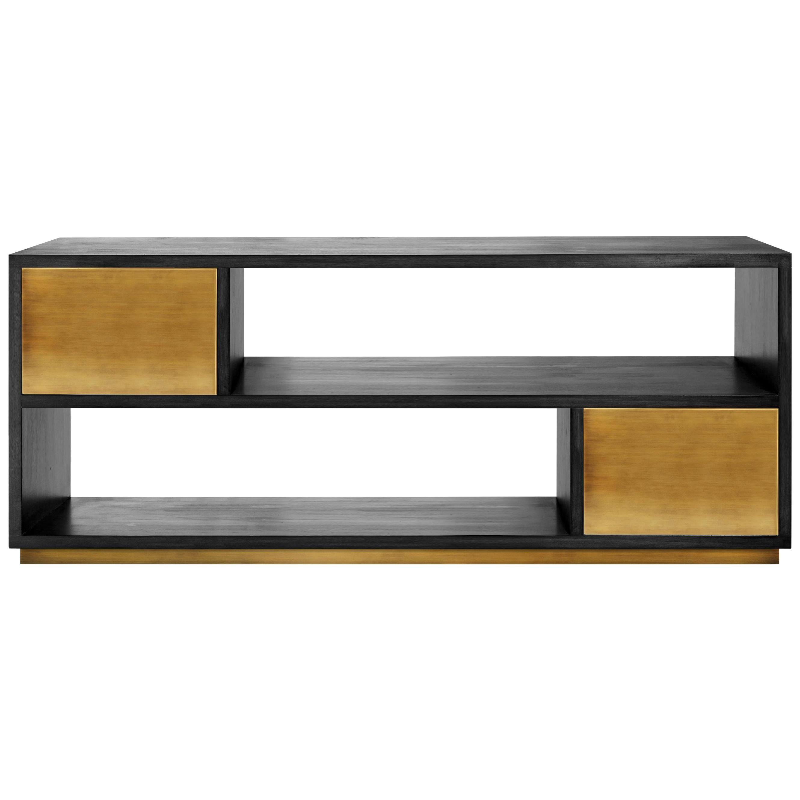 Contemporary Svartifoss Media Console in Black Wood, Copper and Brass