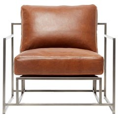 Tan Leather and Antique Nickel Armchair