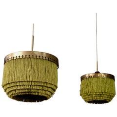 Set of Two Green Hans-Agne Jakobsson Ceiling Lamp Model T601/M, 1960s