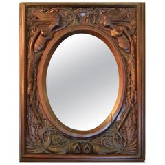 19th Century American Dark Walnut Wall Mirror with Mermaids
