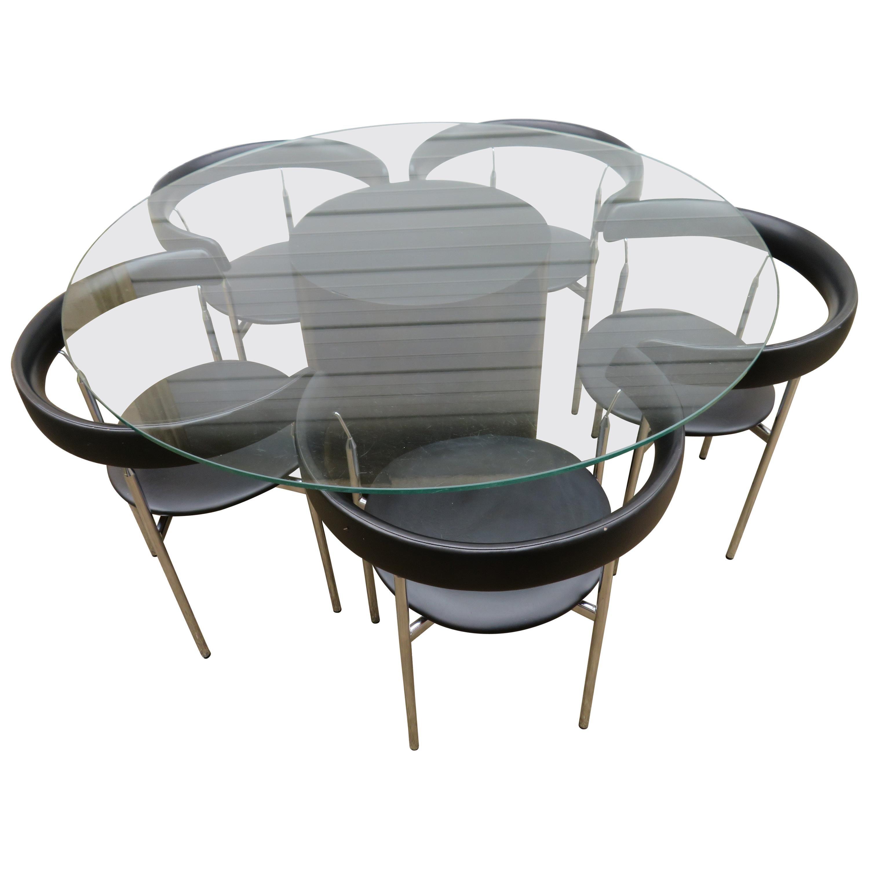 set of five poul kjaerholm style barrel back dining chairs table rh 1stdibs com Barrel Chair Set Dining Room Barrel-Shaped Dining Chair