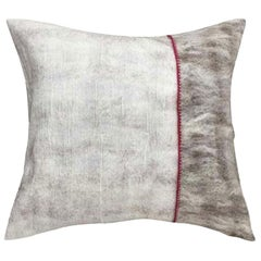 Hand Felted Reversible Silk and Wool Pillow with Red Colored Trim, in Stock