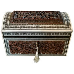 19th Century Anglo-Indian Heavily Carved Padouk and Sadeli Double Caddy