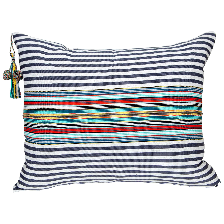 Handwoven Fine Cotton Pillow Grey Stripes & MultiColor Trim with Tassel In Stock