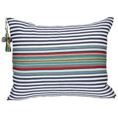 Handwoven Fine Cotton Pillow Grey Stripes & MultiColor Trim with Tassel In Stock