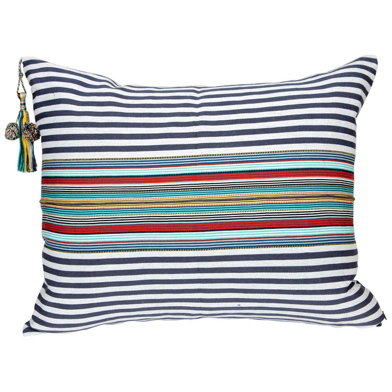 Handwoven Fine Cotton Pillow Grey Stripes & MultiColor Trim with Tassel In Stock For Sale