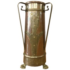 Arts and Crafts Copper and Brass Umbrella Stand