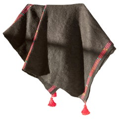 One of a Kind Handwoven Wool Throw in Black with Red Tassels, in Stock