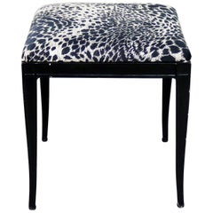 Black Art Deco and Animal Print Bench Ottoman Footstool Cast Aluminum by Crucibl