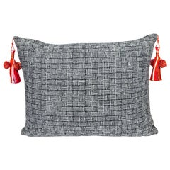 Handwoven Wool Basketweave Pillow with Colored Tassels, in Stock