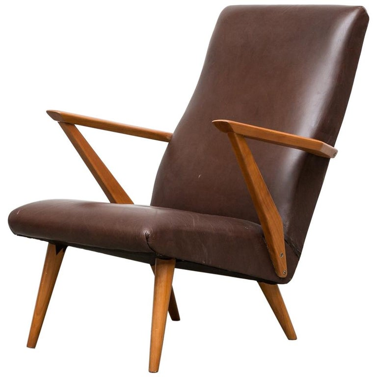 Original Leather Lounge Chair with Pecan Frame For Sale