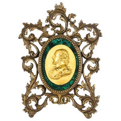 French Framed Ormolu & Malachite Portrait Plaque Francis Drake, 19th Century