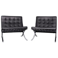 Knoll International Barcelona Chair Black Leather Ludwig Mies van der Rohe