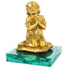 French Malachite and Ormolu-Mounted Sculpture of a Girl Praying, 19th Century