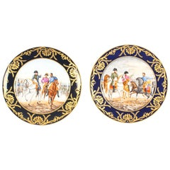 Pair of Porcelain Cabinet Plates of Napoleon Signed Edouard Garnier 19th Century
