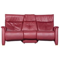 Himolla Designer Sofa Red Leather Three-Seat Couch Recliner