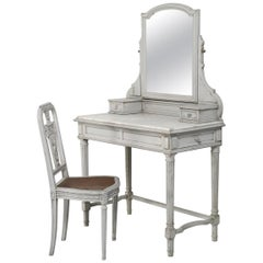 Antique French Dressing Table with Matching Chair in Original Paint