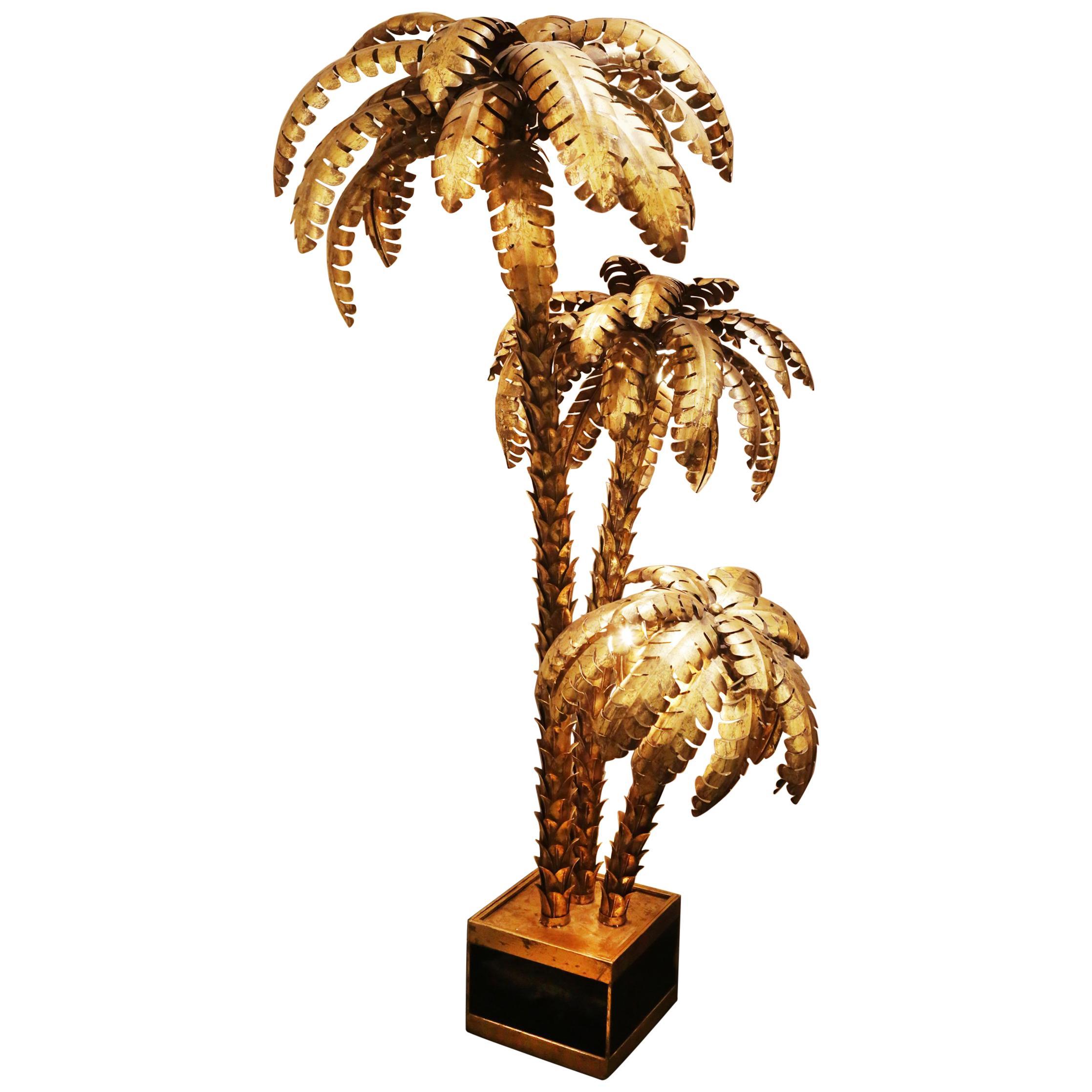 Gilded Palmer Triple Floor Lamp in Gold Finish