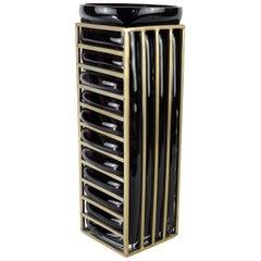 Enlace Black Glass Rectangular Vase