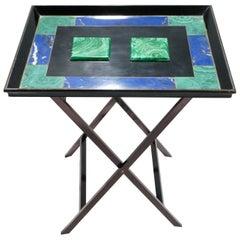 Christian Dior Faux Malachite Folding Tray Table, 1970s