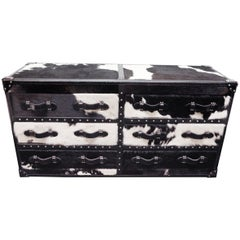 Wild Black and White Cowhide Long Chest